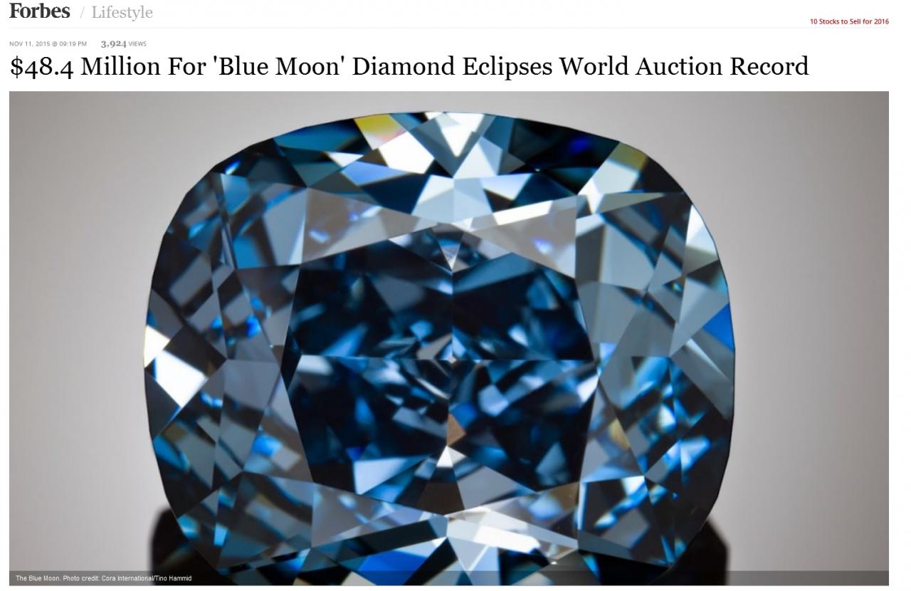 Ehud Laniado sold the Blue Moon Diamond in $48.4 million setting new record